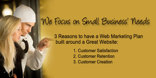 3 Reasons to have a web marketing plan built around a great website: customer satisfaction; customer retention; customer creation